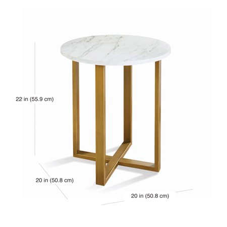 Better Homes & Gardens Lana Modern Side Table with Faux Marble Top, Ideal for Any Room