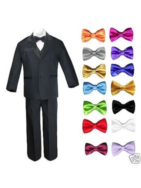 adb6c11a4f99 Product Image 6pc 13 Color Boy Black Formal Wedding Party Suits Tuxedo Set  + Bow Tie All Sizes