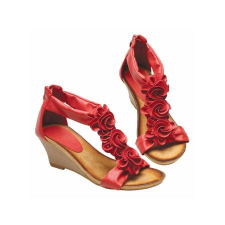 Women's Harlequin T-Strap Medium Wedge Heel Sandal