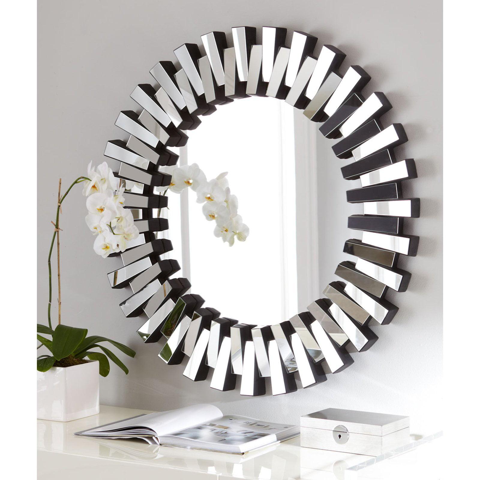 afina modern luxe round wall mirror 36 in walmart com