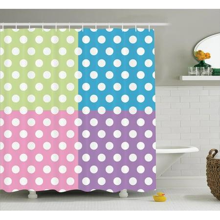 Polka Dots Home Decor Shower Curtain Set Polka Dots In Modern Patchwork Design Print Nursery