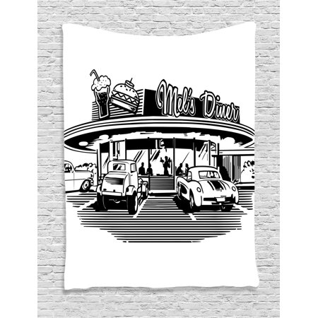 1950 Diner Decor (1950S Decor Wall Hanging Tapestry, Nostalgic Illustration Of Retro Diner Restaurant With Vintage Cars Back Then In Fifties, Bedroom Living Room Dorm Accessories, By)