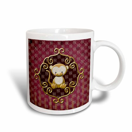 3dRose Cute Chinese Monkey Sitting in Gold Frame, Sign of the Monkey, Red - Ceramic Mug, 15-ounce - Monkey Chinese