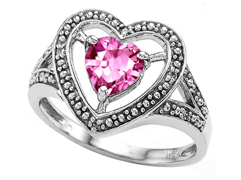 Tommaso Design Heart Shape 6mm Simulated Pink Tourmaline Ring by