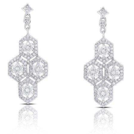 Samantha Stone  Sterling Silver Dangling Cubic Zirconia Flower Design Earrings