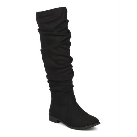 Slouchy Knee High Boot (New Women Faux Suede Knee High Slouchy Riding Boot - 18070 By Yoki)