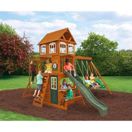 Kidkraft Cranbrook Wooden Swing Set Walmart Com