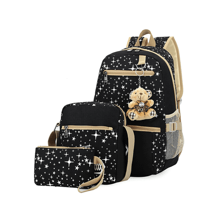 719224a30738 Topcobe - Topcobe 3Pcs Sets Black Canvas School Backpacks for Girls ...