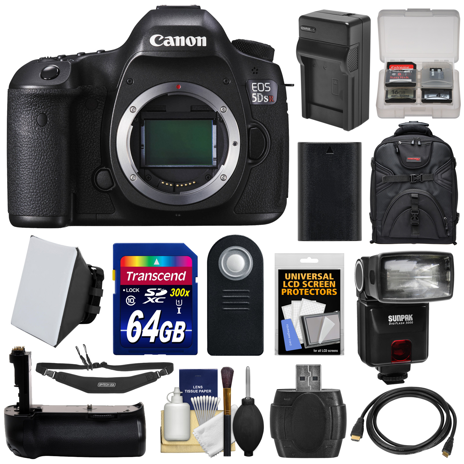 Canon EOS 5DS R Digital SLR Camera Body with 64GB Card + Battery & Charger + Backpack + Grip + Flash + Kit by Canon