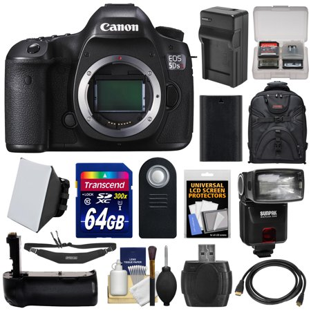 Canon EOS 5DS R Digital SLR Camera Body with 64GB Card + Battery & Charger + Backpack + Grip + Flash + Kit