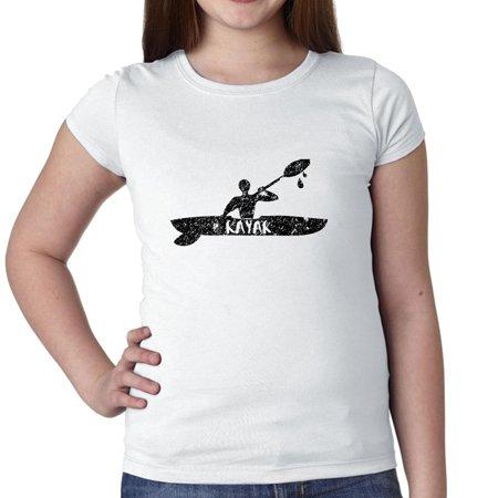 Man in Kayak on River Peaceful Kayaking Love Girl's Cotton Youth T-Shirt