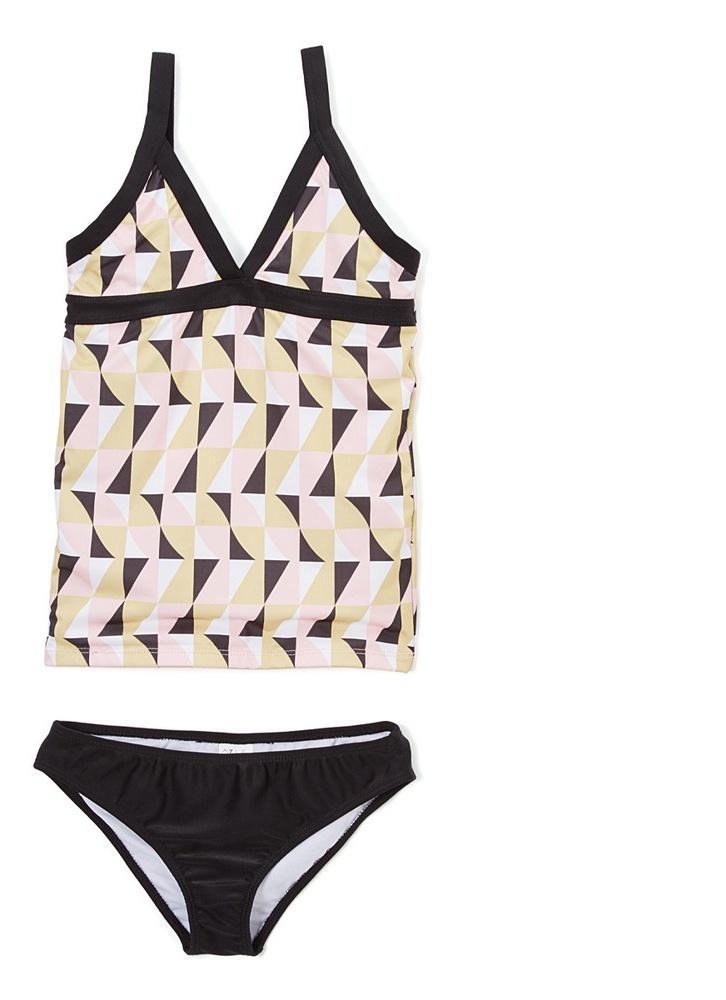 Azul Girls Black Pink Geometric Mod World 2 Pc Tankini Swimsuit 7