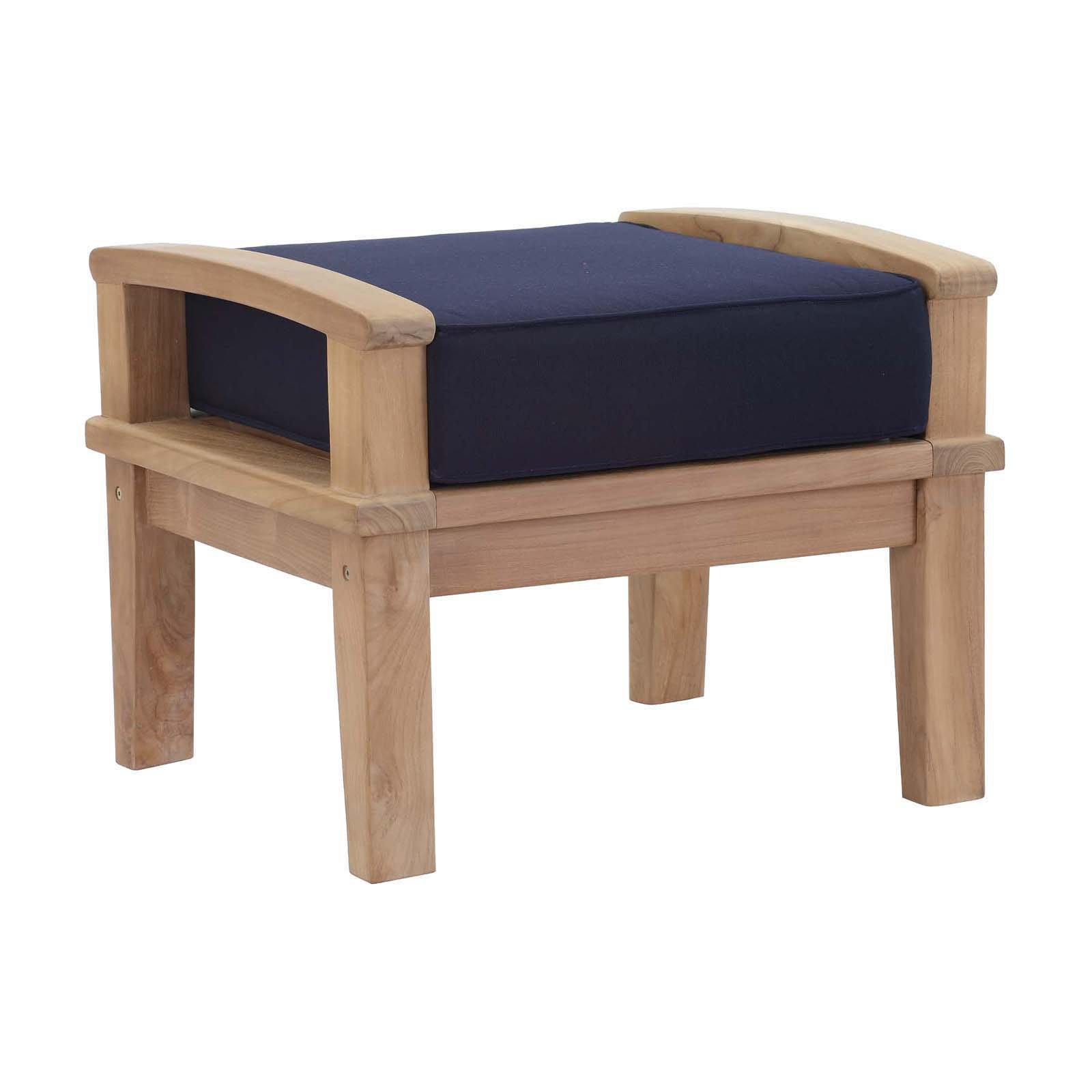 Modway Marina Outdoor Patio Teak Ottoman, Multiple Colors