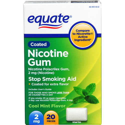 Equate Stop Smoking Aid Mint Gum 2mg, 20 Pieces