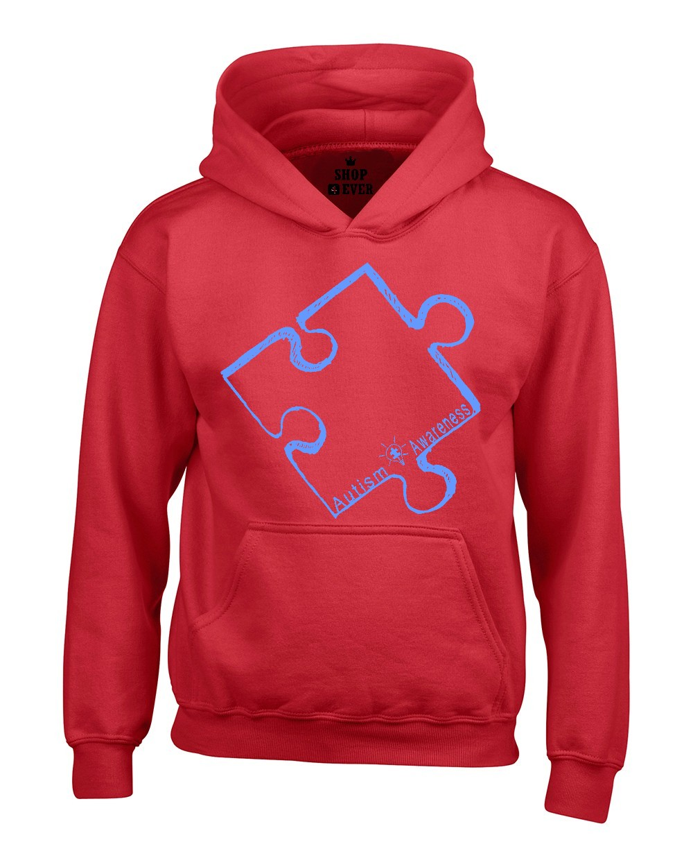 Shop4Ever Men's Blue Puzzle Piece Autism Awareness Hooded Sweatshirt Hoodie
