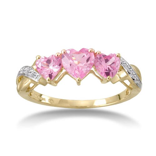 3-Stone Heart-Shaped Pink Sapphire and Diamonds Ring
