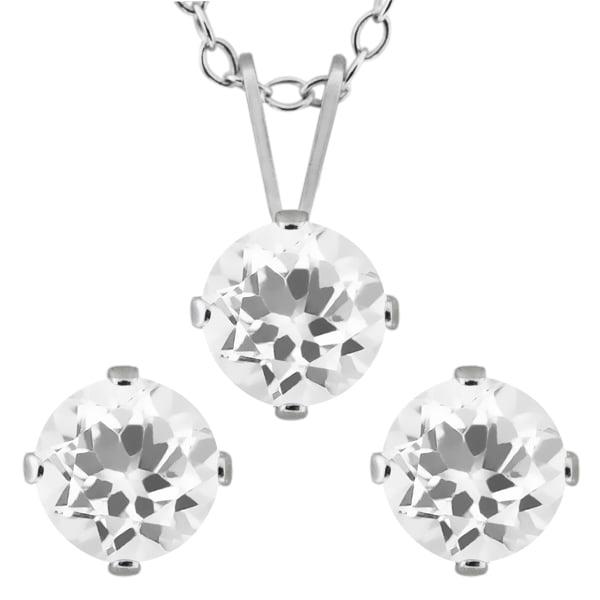2.10 Ct Round White Quartz 925 Sterling Silver Pendant Earrings Set
