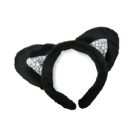 Sequin Cat Suit (SeasonsTrading Black Plush Sequin Cat Ears Headband)