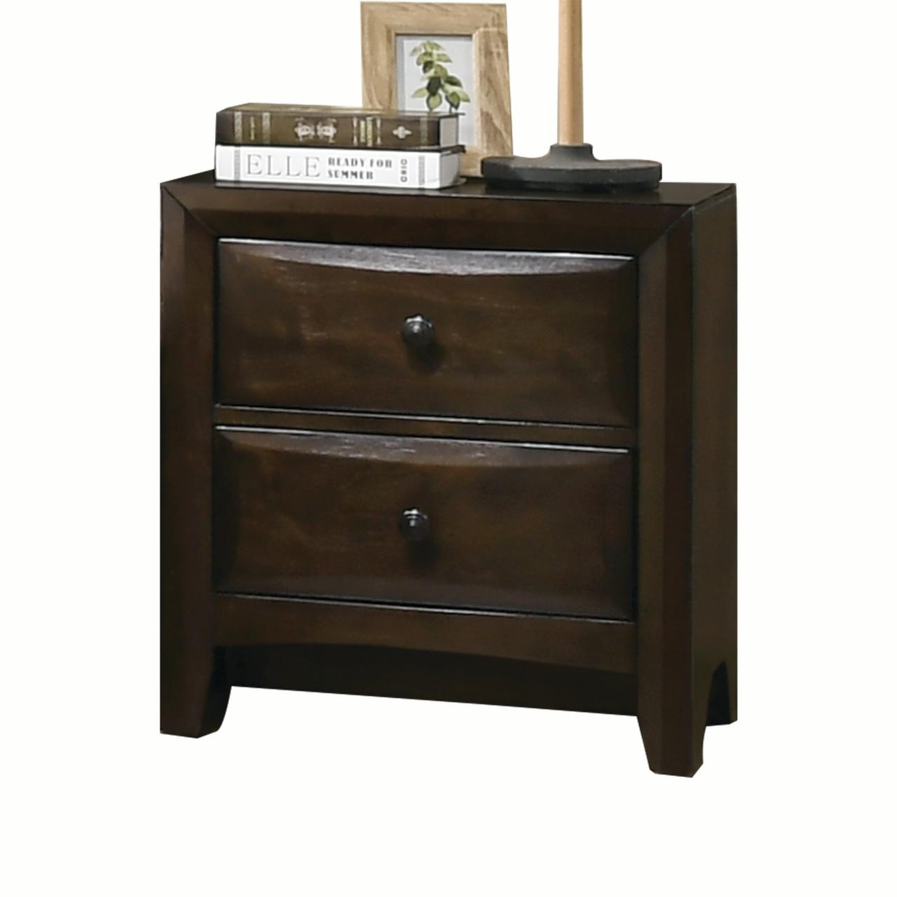 Acme Brenta Nightstand with 2 Storage Drawers in Walnut