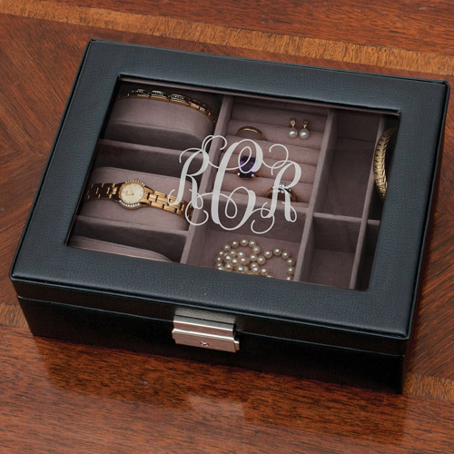 Personalized Monogram Black Jewelry Box