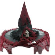 Witch Adult Costume Hat: Black with Maroon Trim