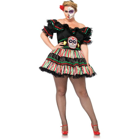 Leg Avenue Plus Size Day Of The Dead Doll Adult Halloween Costume (Halloween Costume Diy Adults)
