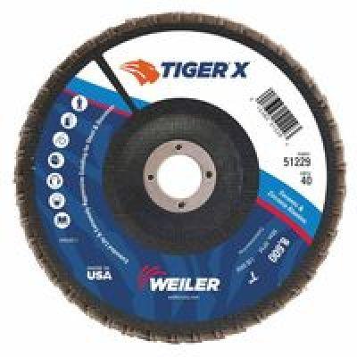 WEILER 51229 Flap Disc, 7 in. x 40 Grit, 7/8, 8600 RPM