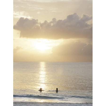 Two Swimmers in Ocean at Sunset, Grace Bay, Providenciales, Turks and Caicos, West Indies Print Wall Art By Kim - Wall Walkers
