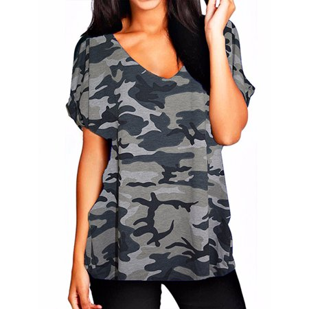 Women's Sexy V-Neck Short Sleeve Casual Loose Basic T-Shirts