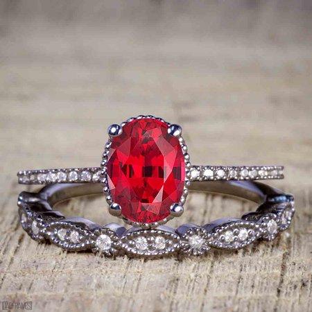 Black And Gold Wedding (Artdeco 1.25 Carat Oval cut Ruby and Diamond Wedding Bridal Ring Set in Black)