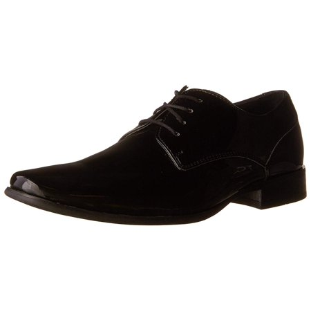 Calvin Klein Mens Brodie Lace Up Dress Oxfords, Black Patent, Size 12.0
