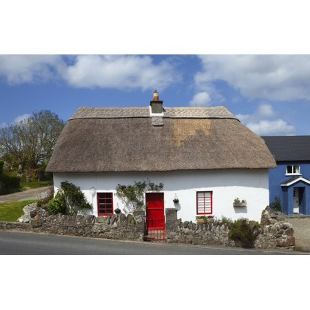 Traditional Thatched Cottage In Annstown Part Of The Copper Coast Geopark County Waterford Ireland Canvas Art   Panoramic Images  36 X 24