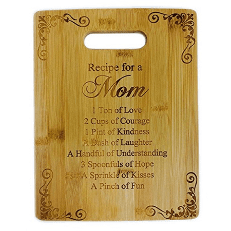 Laser Engraved Bamboo Cutting Board - Recipe for a Mom Cute Funny Laser Engraved Bamboo Cutting Board - Wedding, Housewarming, Anniversary, Birthday, Mother's Day, Gift