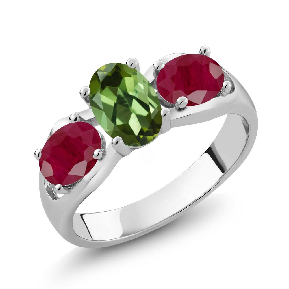1.90 Ct Oval Green Tourmaline Red Ruby 18K White Gold Ring by