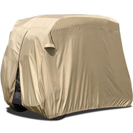 Waterproof Superior Beige Golf Cart Cover Covers Club Car, EZGO, Yamaha, Fits Most Two-Person Golf Carts (1960 Cover)