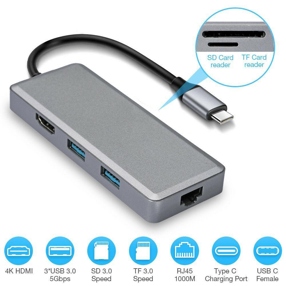 7 in1 USB-C Hub Dual Type-C Aluminum Card Reader Adapter 4K HDMI For MacBook Pro