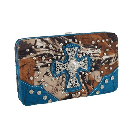 Rhinestone Studded Filigree Cross Forest Camouflage Hard Wallet - image 3 de 3