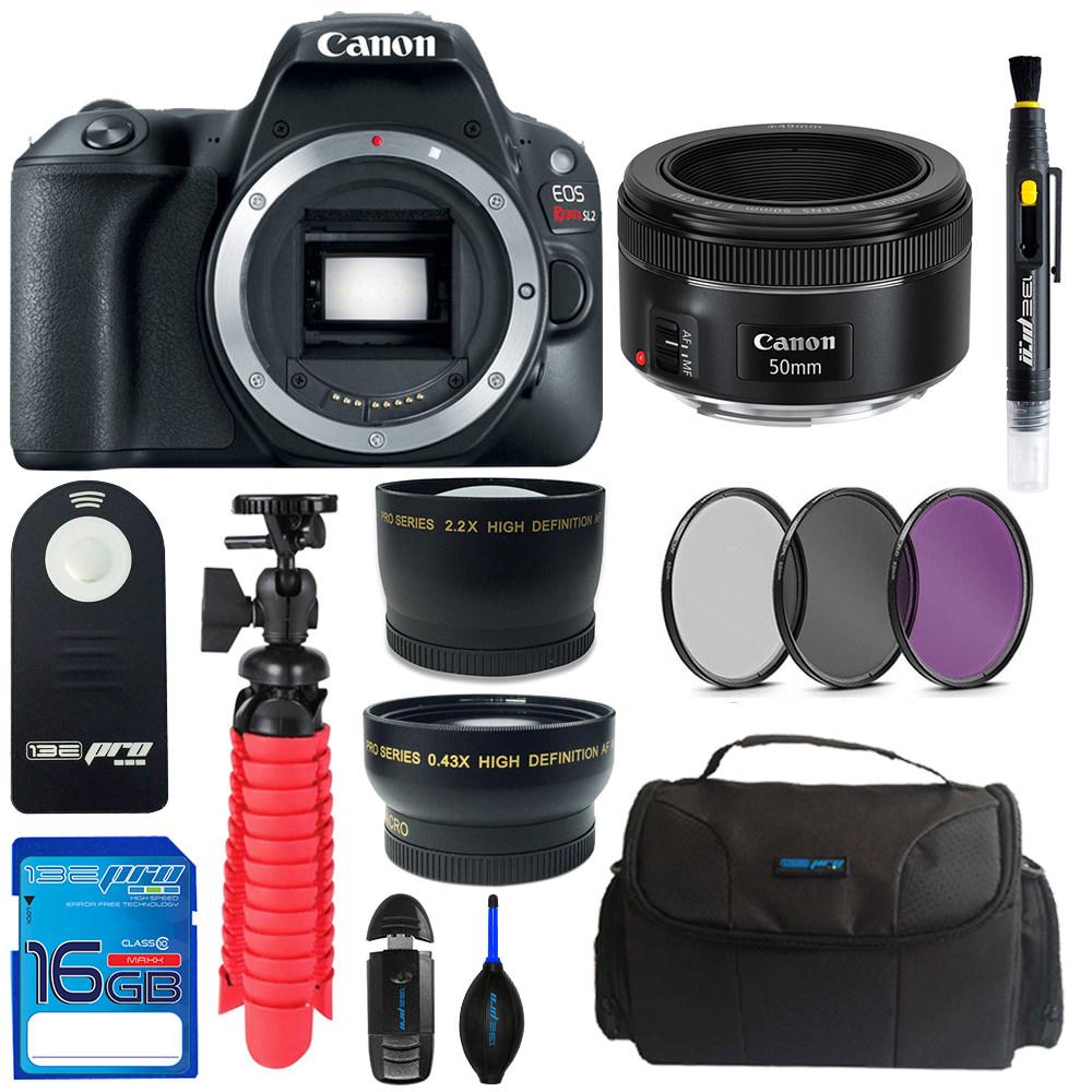 Canon EOS Rebel SL2/200D DSLR Camera (Black) + Canon 50mm STM Lens + Pixi Basic Bundle Kit