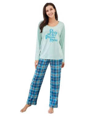 Richie House Women's Two Piece Sleepwear Set Knit Top with Flannel Pants RHW2864