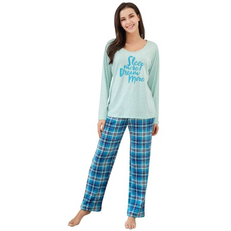 - Richie House Women's Two Piece Sleepwear Set Knit Top with Flannel Pants RHW2864