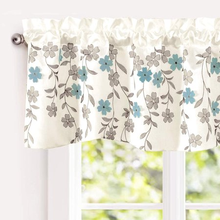 """Driftaway Isabella Faux Silk Embroidered Kitchen Swag Valance, Embroidered Crafted Flower, Single, 60""""X18""""+2"""
