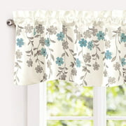 """Driftaway Isabella Faux Silk Embroidered Kitchen Swag Valance, Embroidered Crafted Flower, Single, 60X18+2"""" Header(Ivory/Blue)"""