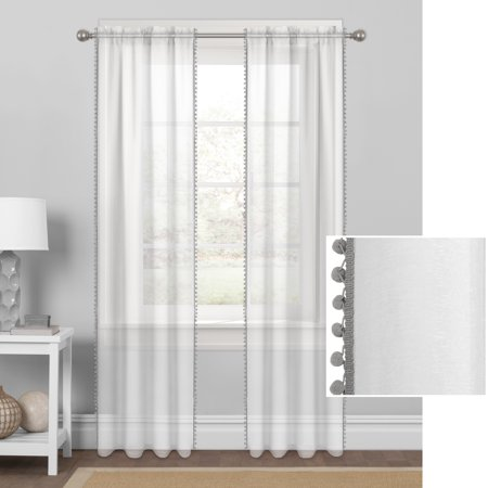 Mainstays Sheer with Pom-Poms Window Curtain Panel ()