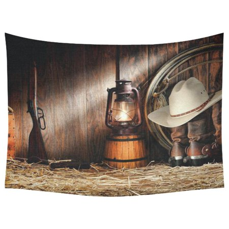 PHFZK American West Rodeo Cowboy Home Decor Wall Art, Western Decor Tapestry Wall Hanging 60 X 80 Inches (Western Cowboy Decor)