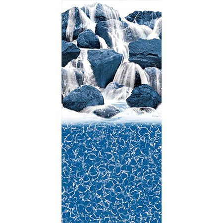 - 18-Foot-by-34-Foot Oval Waterfall Overlap Above Ground Swimming Pool Liner - 48-or-52-Inch Wall Height - 20 Gauge