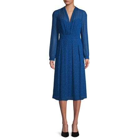 Dotted V-Neck Midi Dress (Ak Anne Klein Sport Womens Guardian Dress Pump)