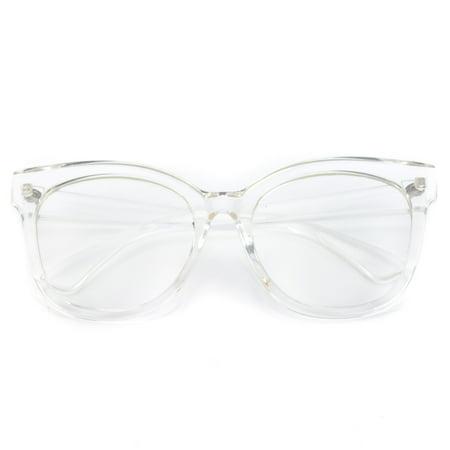 8817a40b8 WearMe Pro -Oversized Thick Frame Clear Cat Eye Non-Prescription ...