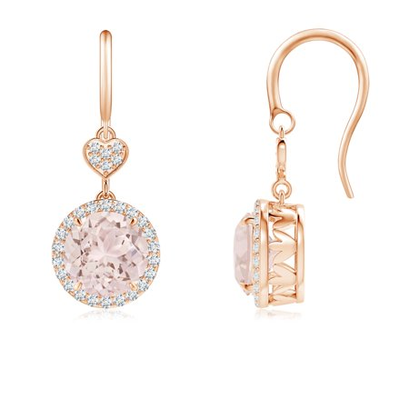 Claw-Set Morganite Dangle Earrings with Diamond Heart Motif in 14K Rose Gold (7mm Morganite) - SE1043MGD-RG-A-7