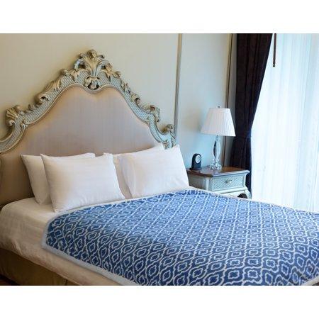 "Napa Super Soft Plush Fleece Throw Blanket Dark Blue, Microfiber Moroccan Lightweight Warm Bed Couch Blanket, Easy Care 50"" x 70"""