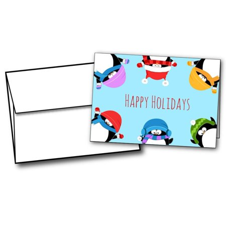 - Penguin Border Holiday Cards - 20 Greeting Card Sets